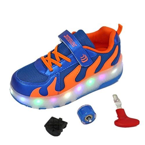 Unisex Niños LED Zapatillas de Skateboard con Ajustable Ruedas,LED Luz Parpadea Luminoso Deportes al Aire Libre Gimnasia Zapatos de Roller para Niño y Niña: ...