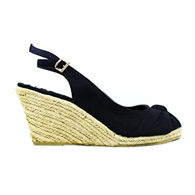5a4128653b55 F F Black Womens Raffia Mid Wedge Canvas Peeptoe Sandals Espadrille ...