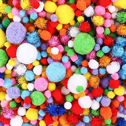HEHALI 1000pcs Pom Poms Craft Making Assorted Sizes & Colors, Creative Craft DIY Material