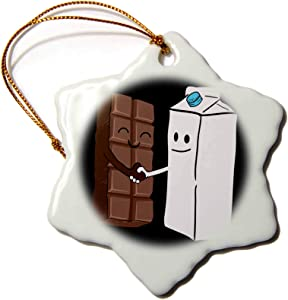 3dRose Snowflake Ornament - Chocolate Meet Milk Funny Food Meal Design - 3-inches (ORN_296567_1)