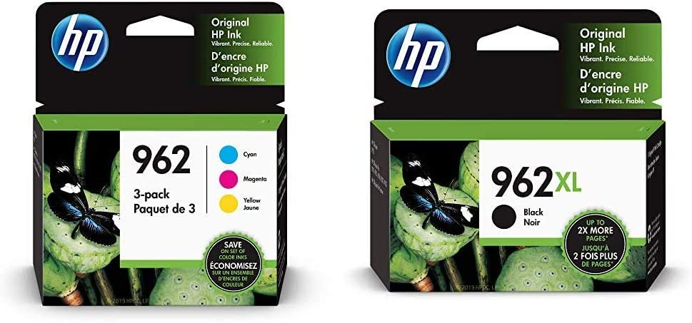 HP 962 | 3 Ink Cartridges | Cyan, Magenta, Yellow | 3HZ96AN, 3HZ97AN, 3HZ98AN & 962XL | Ink Cartridge | Black | 3JA03AN