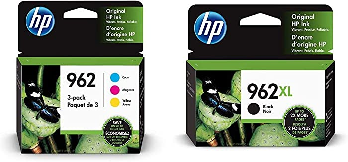 HP 962 | 3 Ink Cartridges | Cyan, Magenta, Yellow | 3HZ96AN, 3HZ97AN, 3HZ98AN & 962XL | Ink Cartridge | Black | 3JA03AN
