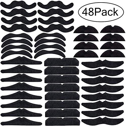 Fiesta Fake Mustaches - 48 Pack Halloween/Mexican Birthday Party Supplies Decorations Self Adhesive Facial Hair Beards