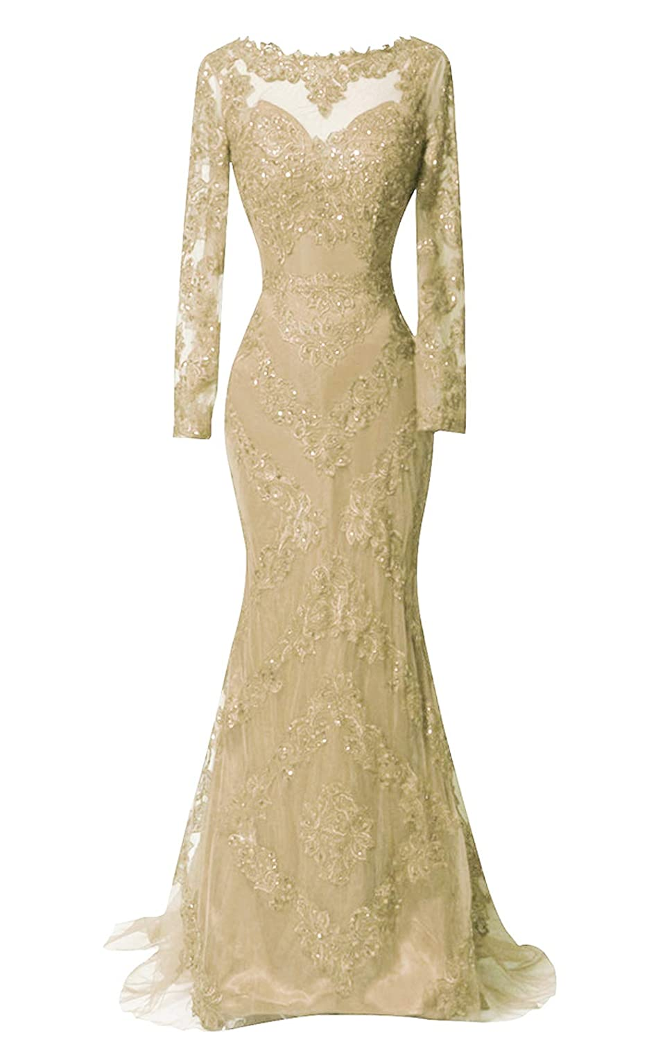 Champagne DKBridal Long Sleeves Evening Gowns Mermaid Long Applique Sheer Neck Prom Dresses