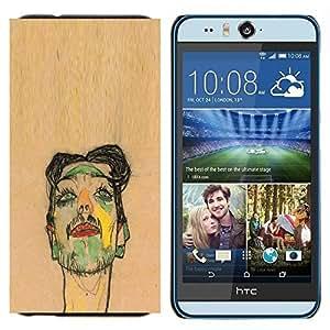 TECHCASE---Cubierta de la caja de protección para la piel dura ** HTC Desire Eye ( M910x ) ** --Artista Pintura Sketch Retrato de Brown