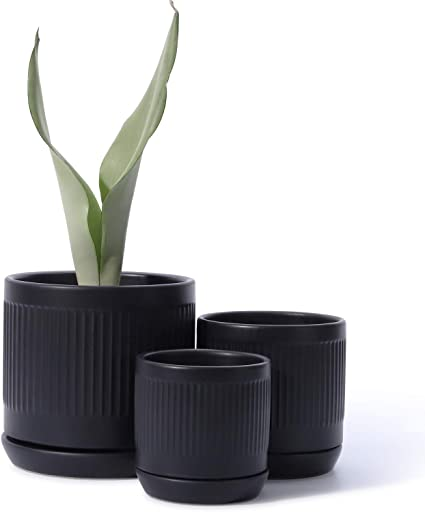 Unglazed 202221 Set of 2 Terracotta POTEY Cement Indoor Plant Pots 4 Inch Medium Planter Flower Containers Clay Modern Decorative with Drain Hole