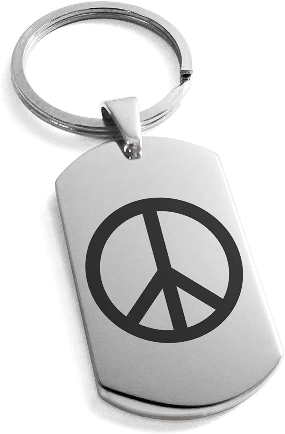 Tioneer Stainless Steel Peace Symbol Dog Tag Keychain Keyring
