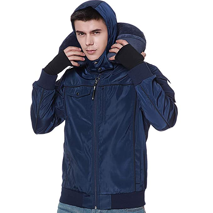 BOMBAX Travel Jacket Men,10 Pockets Windbreaker Flight Bomber Jacket & Coats Blue best men's travel accessories