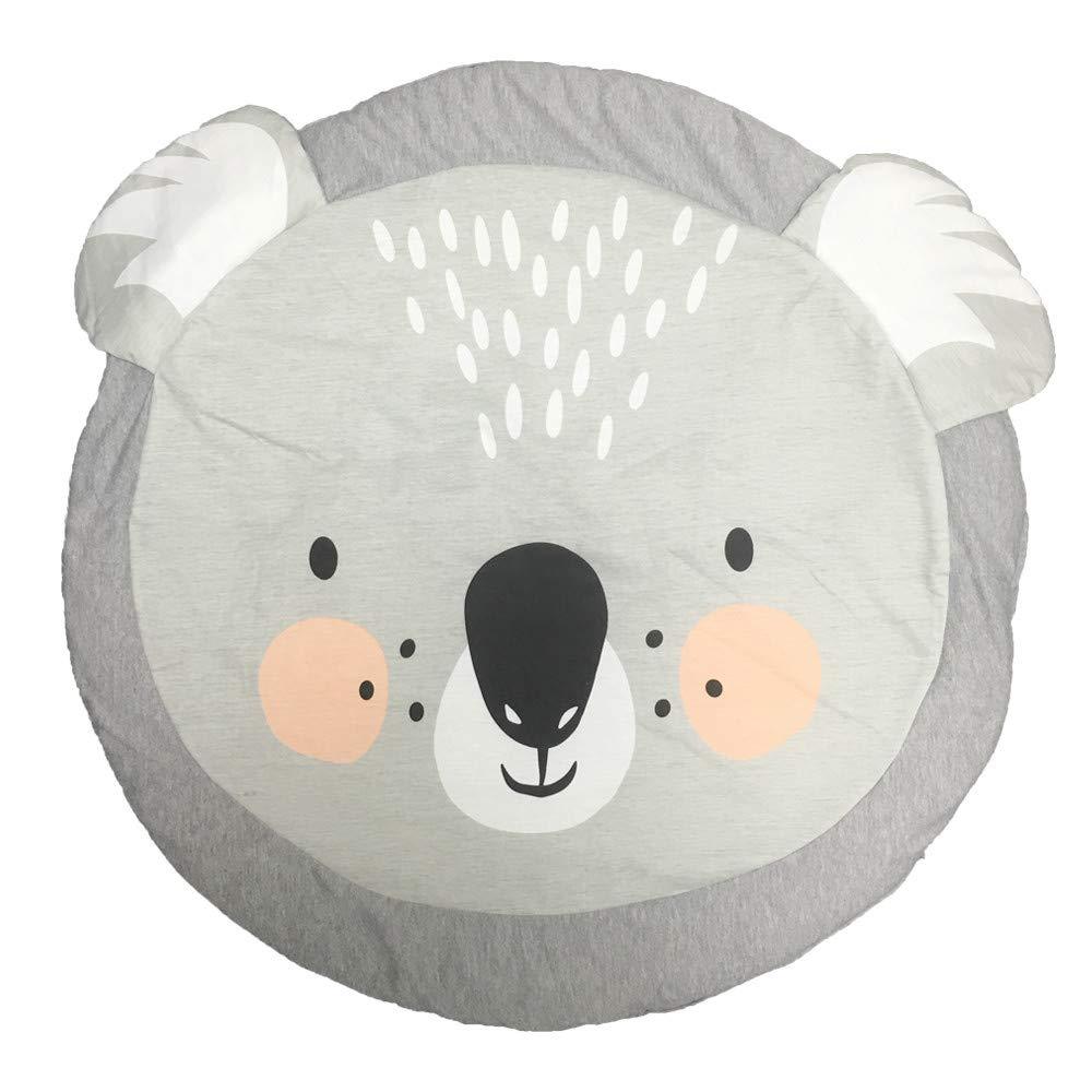 Alfombra de Juegos Bebes Animales Coala Alfombra Redonda Gris Infantil Decoración Habitación Niño Tapete De Juego Manta De Bebé con Relleno Nordic Ideas