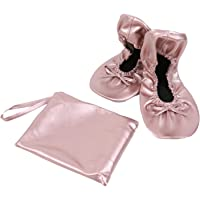 WEFOO Foldable Ballet Flats Portable Travel Ballet Flat Roll Up Slipper Shoes with Matching Carrying Pouch
