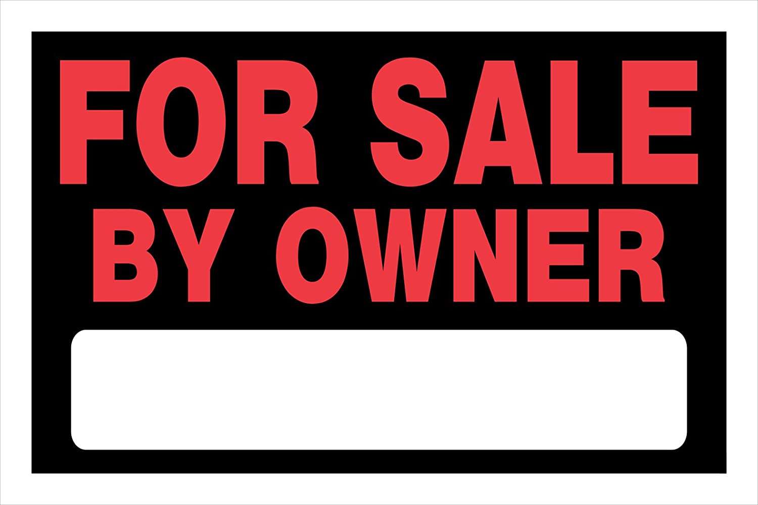 Hillman 839930 For Sale By Owner Sign with Space for Fill In, Black and Red Plastic, 8x12 Inches, 1-Sign
