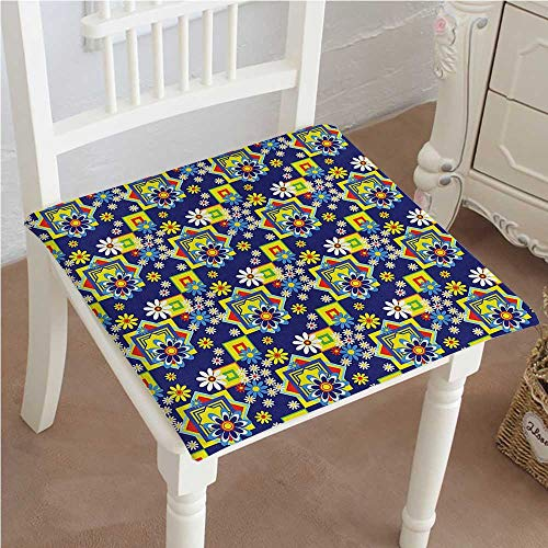 Mikihome Chair Pads Square Cotton Chair Cushion Flower Daisy Blooms and Mix SquaresPrint Royal Blue Yellow Red Soft Thicken Seat Pads Cushion Pillow for Office,Home or Car ()