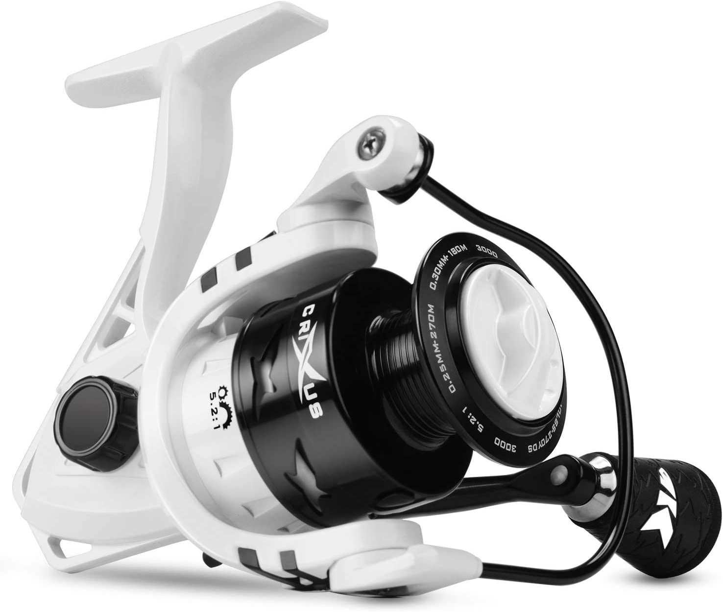 KastKing Crixus Spinning Fishing Reel, 17.5 lbs. Drag, SuperPolymer Grips, Aluminum Spool, Lightweight Graphite Frame, Graphite Body Rotor, Aluminum Handle.