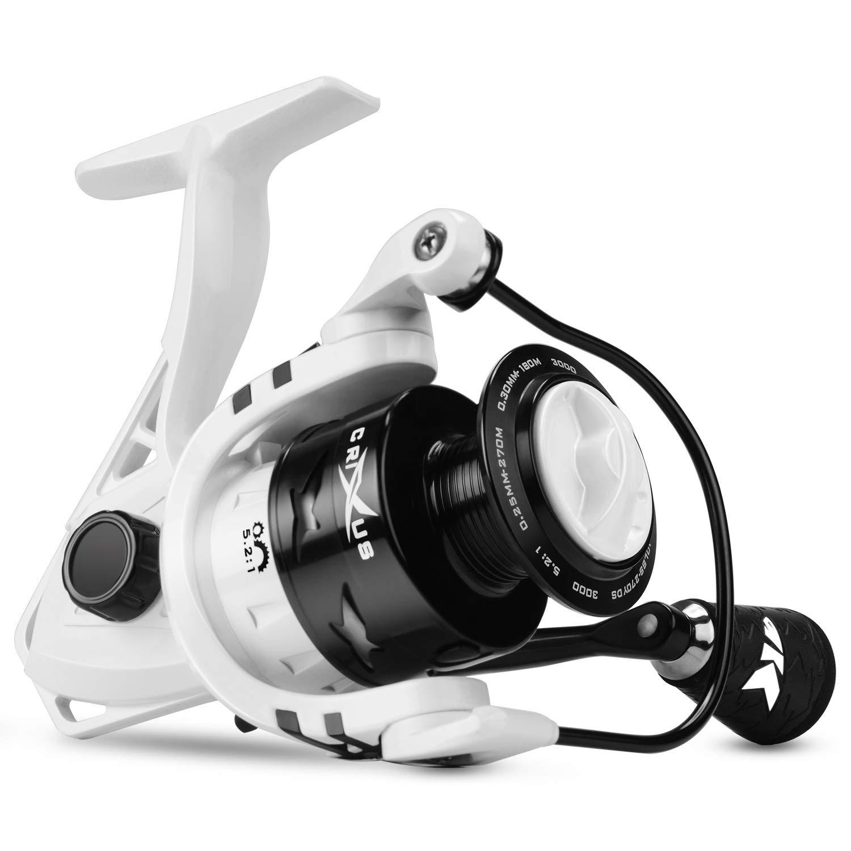 KastKing Crixus Spinning Fishing Reel, 17.5 lbs. Drag, SuperPolymer Grips, Aluminum Spool, Lightweight Graphite Frame, Graphite Body Rotor, Aluminum Handle.