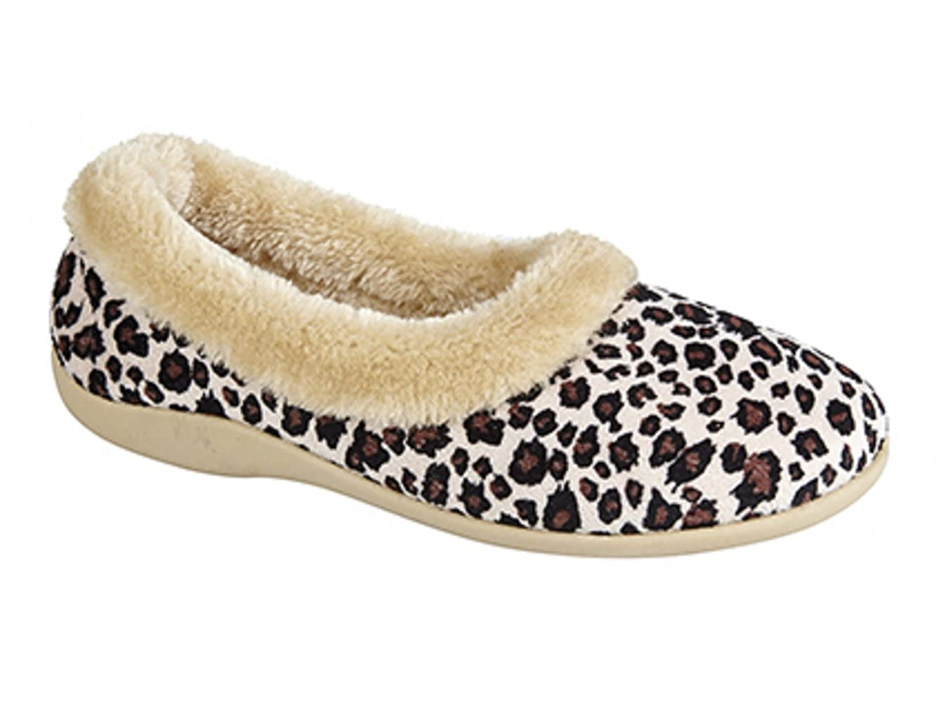 6fdbc9ee006e Dunlop PENNY Ladies Ocelot Velour Full Slippers Leopard Print:  Amazon.co.uk: Shoes & Bags