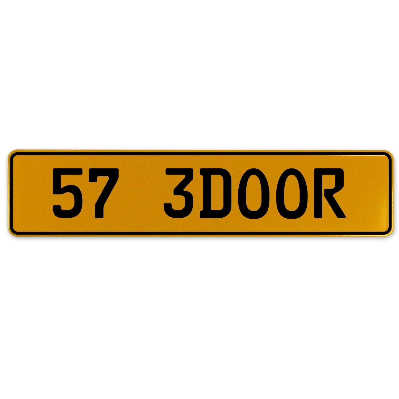 Vintage Parts 563070 57 3DOOR Yellow Stamped Aluminum European Plate