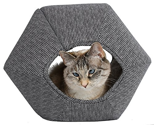 The Cat Ball Modern cat Bed in a Black and White Knit Stripes Pattern
