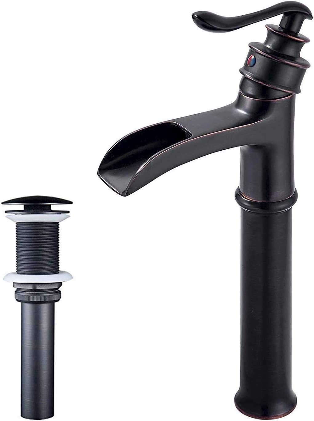 NeierThodore Oil Rubbed Bronze Lavatory Vessel Basin Tall Faucet One Handle Waterfall Spout with Pop Up Drain,Deck Mounted Mixer Tap