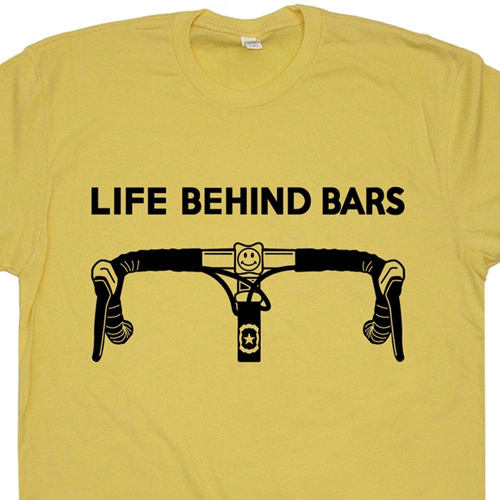 7af5fdabd Amazon.com: Bicycle Life Behind Bars T Shirt Funny Bike Saying Slogan  Cycling Triathlon Biking for Men Women Teen Graphic: Clothing