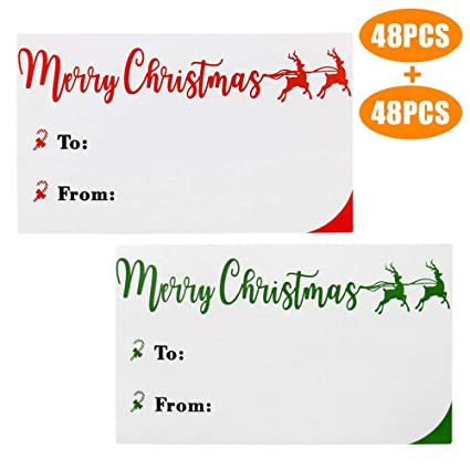 Merry Christmas Gift Tags.Amazon Com Christmas Stickers Christmas Labels 96pcs Merry