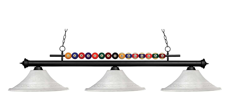Z-Lite 170MB-FWM16- 3 Light Billiard Light Matte Black Metal Glass B00BLR3EOU