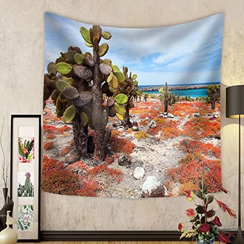 Gzhihine Custom tapestry Beautiful Landscape of Galapagos South Plaza Island - Fabric Wall Tapestry Home - Map Plaza Kings