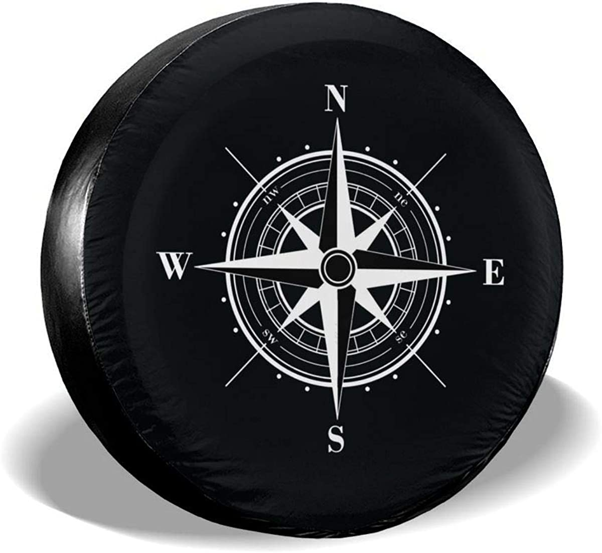 MSGUIDE Spare Tire Cover Compass Wind Rose for Jeep Trailer Rv Truck 14 15 16 17 Inch Sunscreen Dustproof Corrosion Proof Wheel Cover