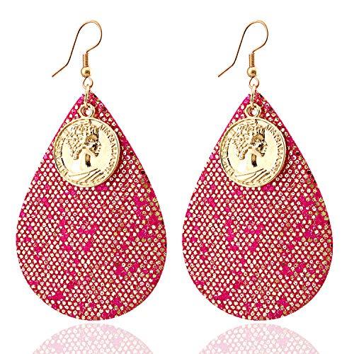 Dangle Earrings for Women Girls Leather Earrings Lightweight Faux Leather Leaf Earrings Teardrop Dangle Earrings (Red)