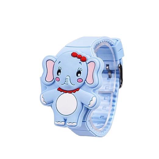 Reloj de Niños Silicona de Moda Niños Dibujos Animados Animal Elefante LED Pantalla Digital Electrónico Reloj