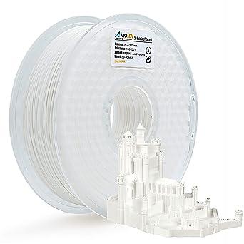 AMOLEN PLA Filamento Impresora 3D, 1.75mm 225G,+/- 0.03mm Materiales de impresión 3D de filamento, incluye Muestra Filamento. (Blanco, 1KG)