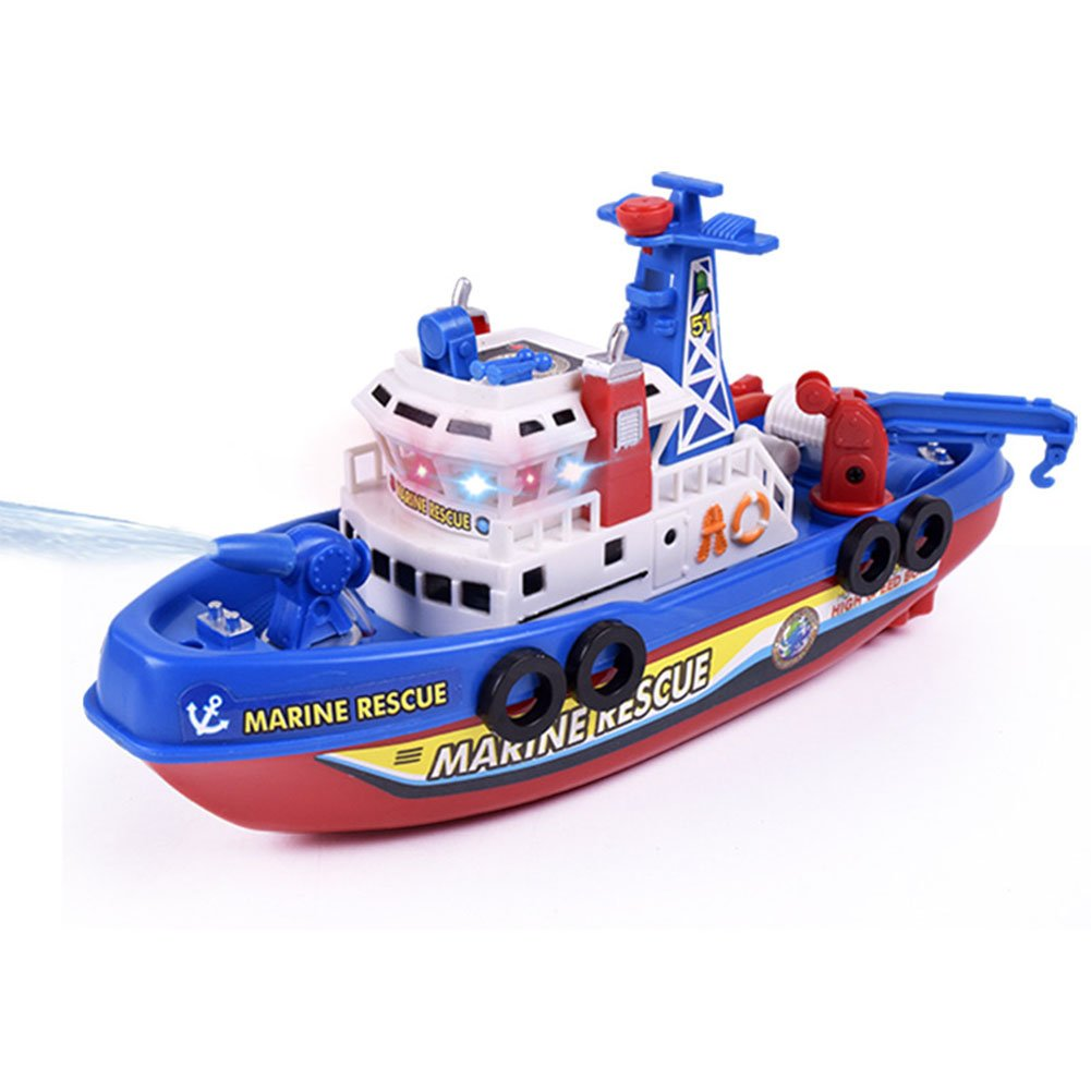 Lanlan Electric Rescue Fire Boat with Sound and Flash Lights Water Spraying Ship Modle for Kids as Xmas Gifts 9'
