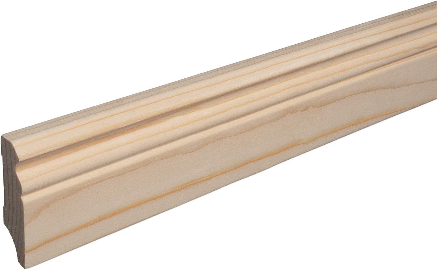 SPARPAKET 120mm H/öhe, 1 St/ück // 2,3lfm Massivholz-Sockelleisten Fichte roh geschliffen Alt-Berliner Profil