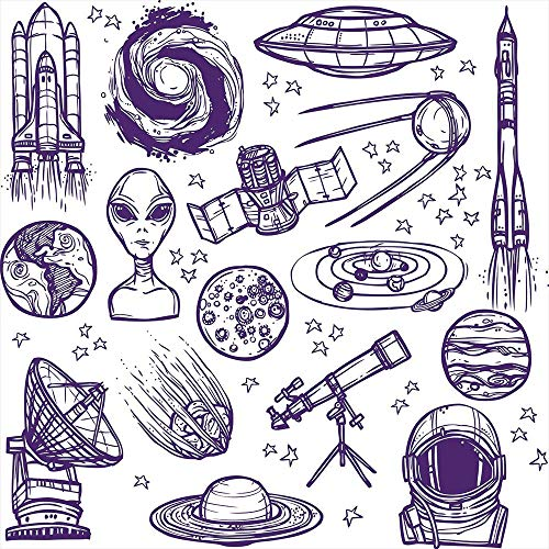 iPrint Blackout Window Curtain,Free Punching Magic Stickers Curtain,Outer Space Decor,Minimalist Space Graphic Satellite Orbit Radar Saturn Telescope Space,Purple White,Paste Style,for Living Room
