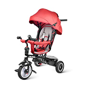 besrey 7 en 1 Tricycle Poussette Vélo Evolutif Multifonctionnel pour  Enfants avec Roues Silencieuses et la bc1e79c0af0