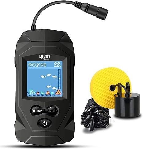 LUCKY Portable Fish Finders Transductor con Cable Kayak Fish Finder Kit Pantalla de LCD con buscador de Profundidad portátil para Kayak Barco Pesca en