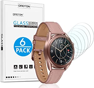 [6 Pack] OMOTON Screen Protector for Samsung Galaxy Watch 3 (41mm) /Galaxy Watch (42mm) / Gear Sport / Gear S2 - Tempered Glass Screen Protector [Full Coverage] [Bubble Free] [Scratch Resistant]