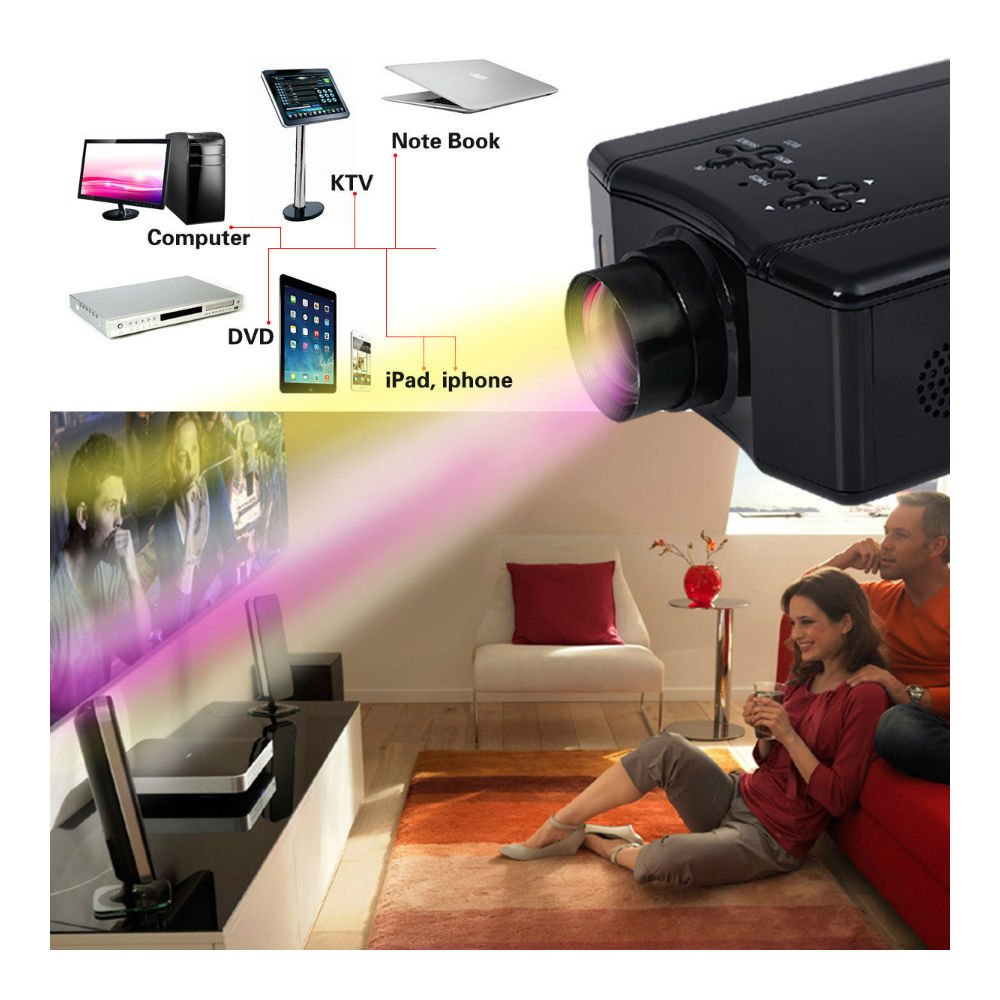 4000 Lumens HD 1080P Home Theater Projector 3D LED Portable SD HDMI AV USB New