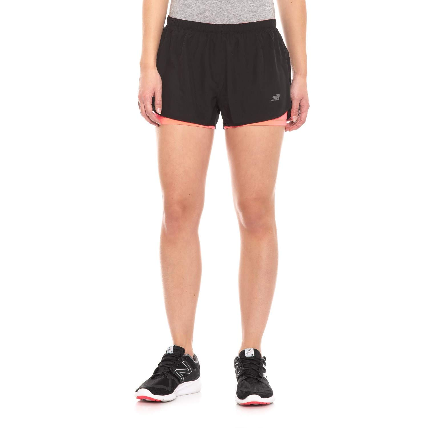New Balance Women's 2-in-1 Woven Shorts, Blk/Guava, Large by New Balance