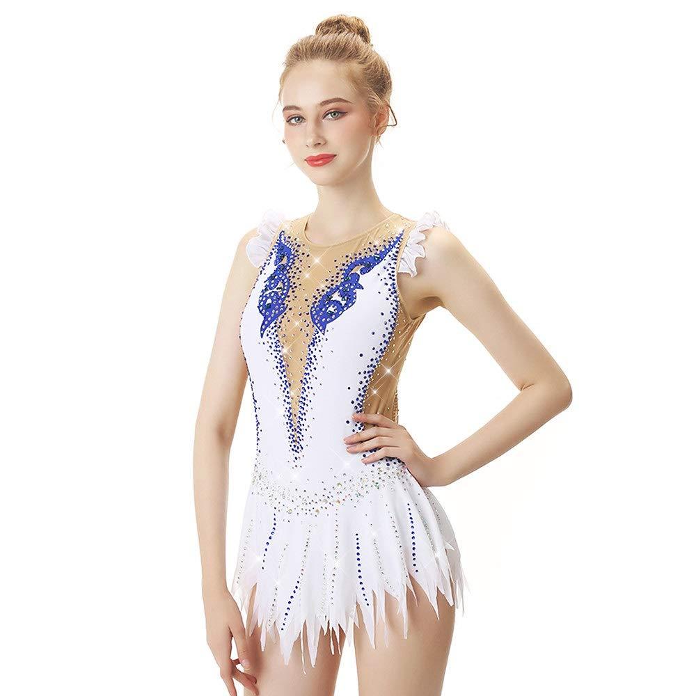 フィギュアスケートドレス女性用、女の子用アイススケートドレスホワイトスパンデックス高弾性プロコンペスケートウェア手作りノースリーブ ホワイト S