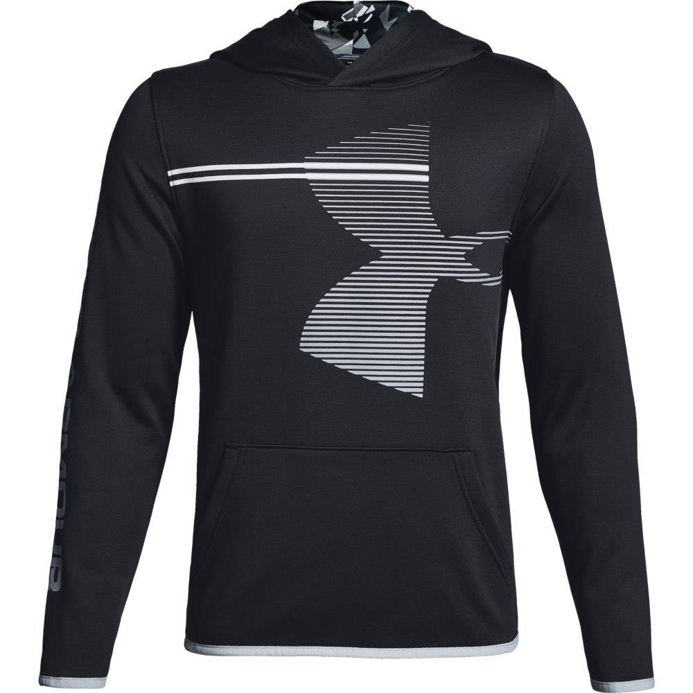 Under Armour Boys' Armour Fleece Hoodie, Black (001)/Steel, Youth X-Large by Under Armour