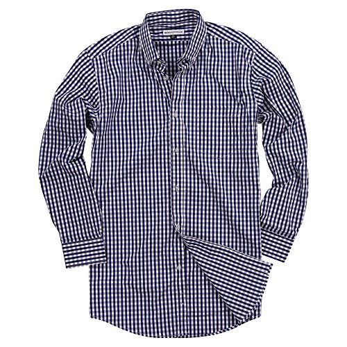 Men's Long Sleeve Button Down Stretch Fit Gingham Plaid Shirt (Navy/White Plaid, Large) (Gingham Navy Dress)