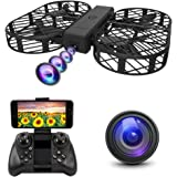 Dwi Dowellin FPV Drone with 720P HD WiFi Camera Live Video Foldable Crash Proof RC Drones One Key Take Off Quadcopter for Kids Children Beginners Adults, Carrying Case and 2pcs Batteries