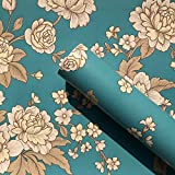 SimpleLife4U Vintage Peony Self-Adhesive Shelf Drawer Liner Removable PVC Blue Contact Paper 45x300cm,Green