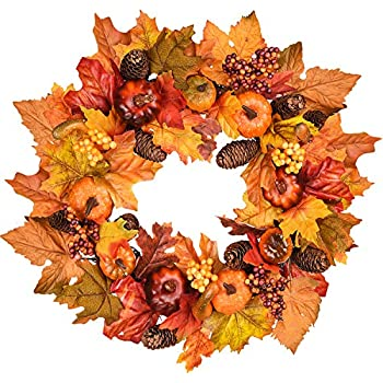 DearHouse 15 Inch Fall Wreath, Autumn Maple Leaf Harvest Thanksgiving Door Wreath for Front Door with Pumpkins, Pinecone, Maple Leaf and Berry