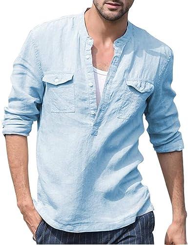 Blusas Hombre Manga Larga Camisa de Manga Larga de algodón y Lino de Color sólido para Hombre Camisas Hombre Manga Larga Transpirable y cómodo Camisa Casual de Manga Larga para Hombre: Amazon.es: