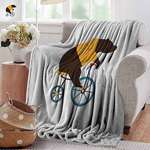 XavieraDoherty Flannel Fleece Blanket,Bicycle,Big Teddy Bear Icon of Circus Riding Bicycle with Hipster Costume Animal Image,Brown Yellow,Throw Lightweight Cozy Plush Microfiber Solid Blanket -