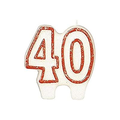 #40 Celebration Candle | White/Red | Party Supply: Childrens Cake Candles: Kitchen & Dining