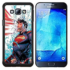 LECELL--Funda protectora / Cubierta / Piel For Samsung Galaxy A8 A8000 -- Azul Rojo Power Man Cartoon --