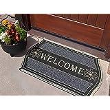 Heavy Duty Silver Welcome Rubber Indoor Outdoor Door Mat Size (45cm x 75cm) by SuperRugStore