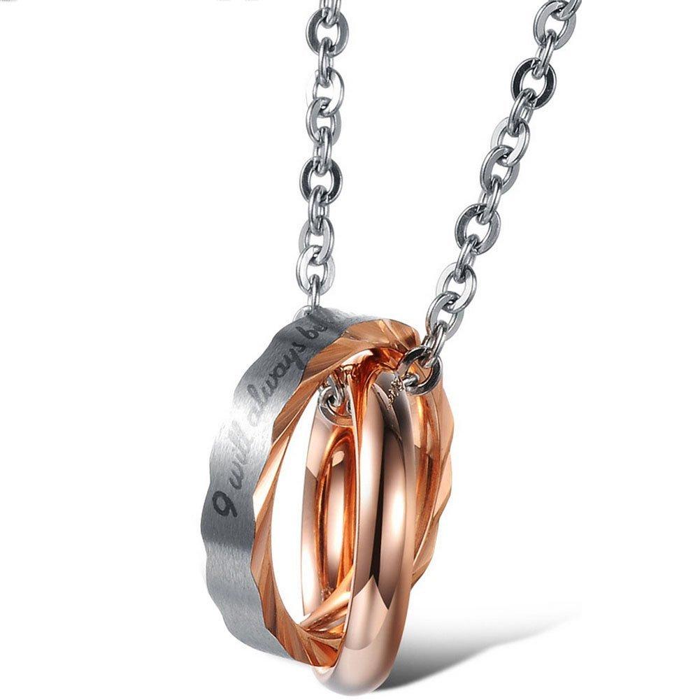 JewelryWe Schmuck Edelstahl Paare Halskette, 2 Ringe mit I will always be with you Gravur Anhänger, Partneranhänger Partnerketten Geschenk 30042491-W